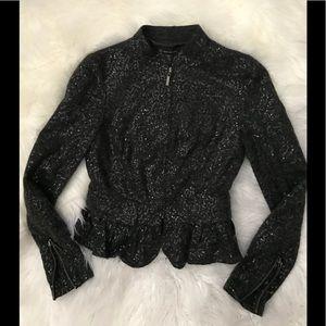 Beautiful zip up jacket size xs by INC black grey